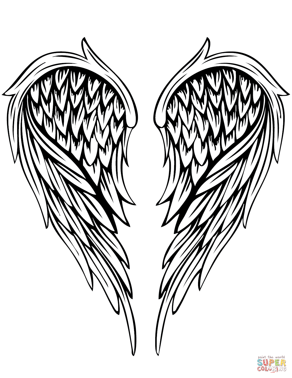 Angel Wings Tattoo Coloring Page