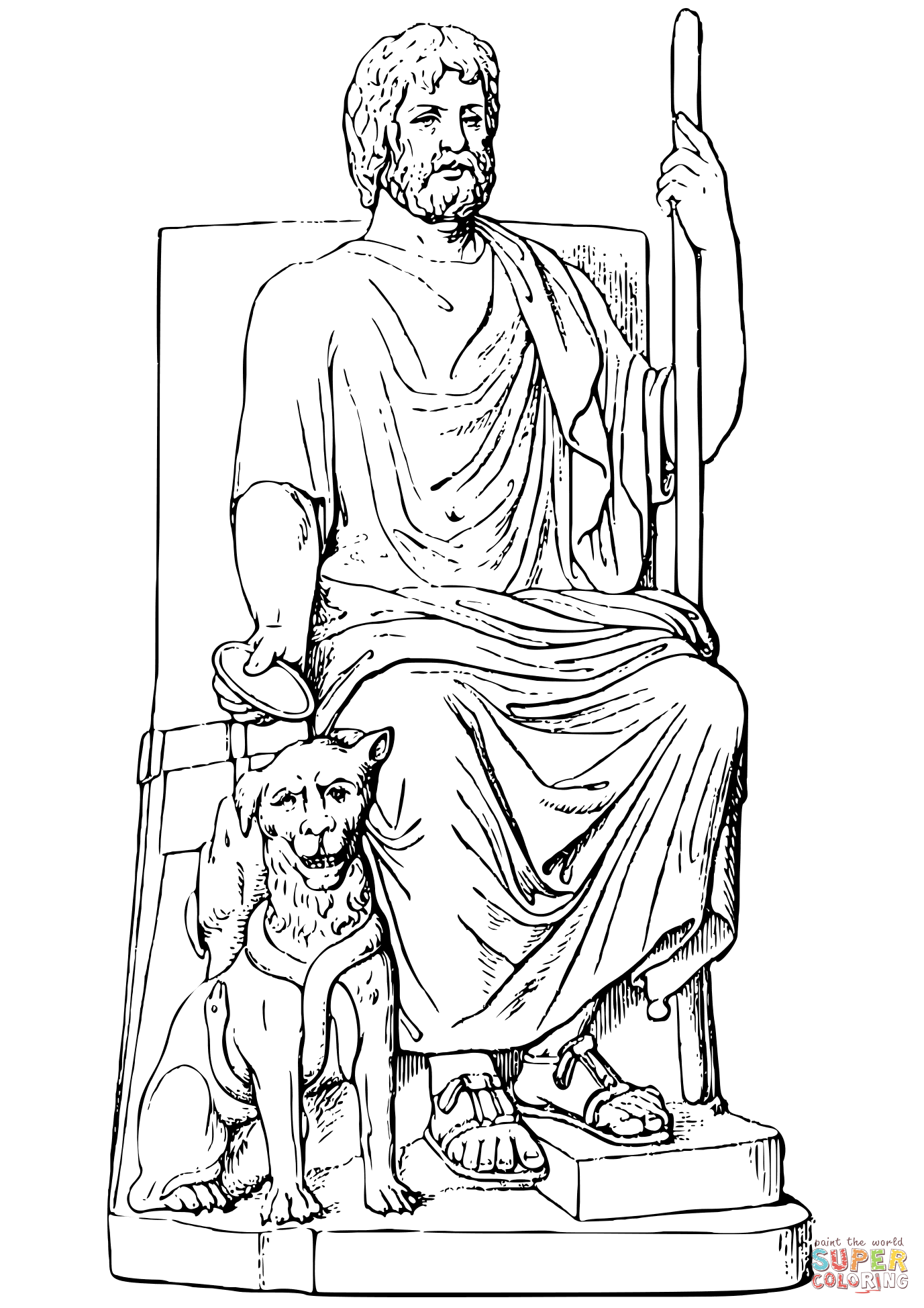 Hades And Cerberus Coloring Page
