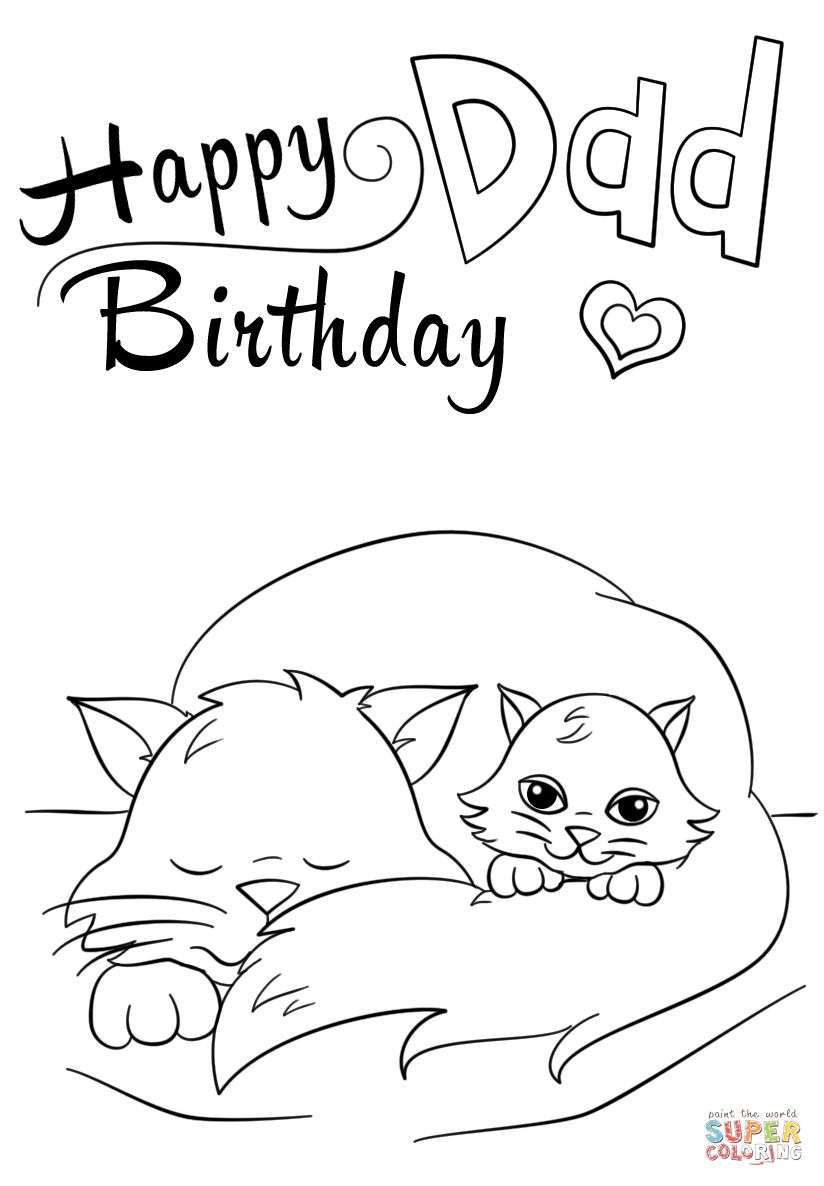 Happy Birthday Dad Coloring Page Free Printable Coloring Pages
