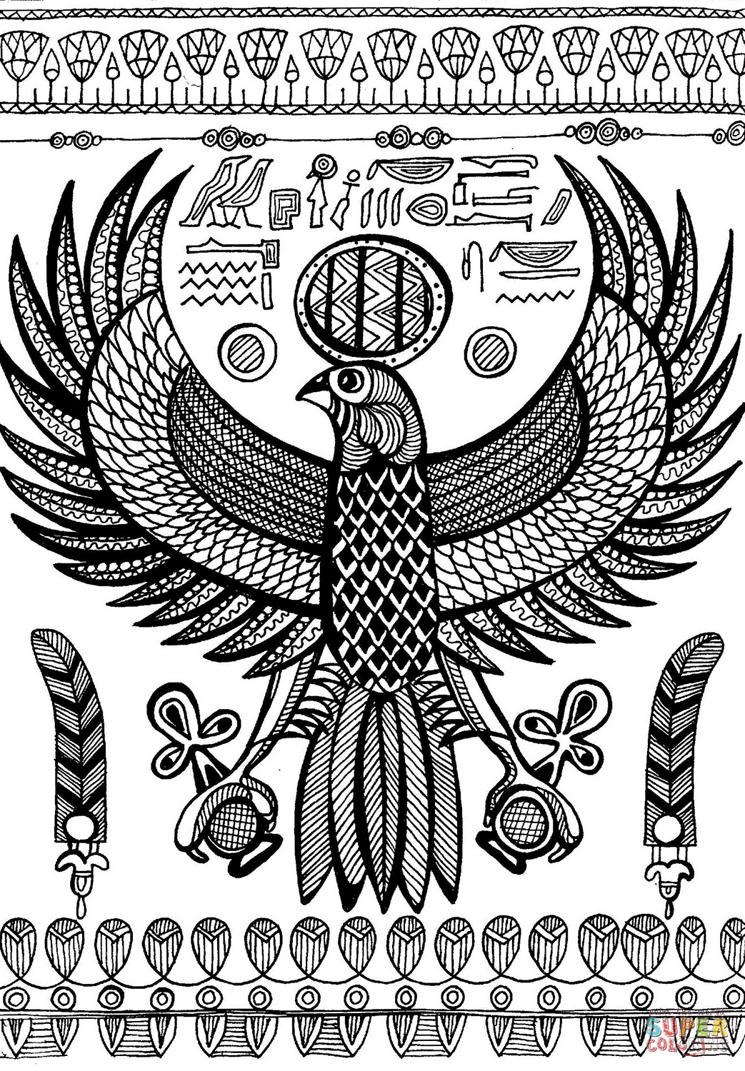 Horus Ancient Egyptian God Depicted As Falcon Coloring