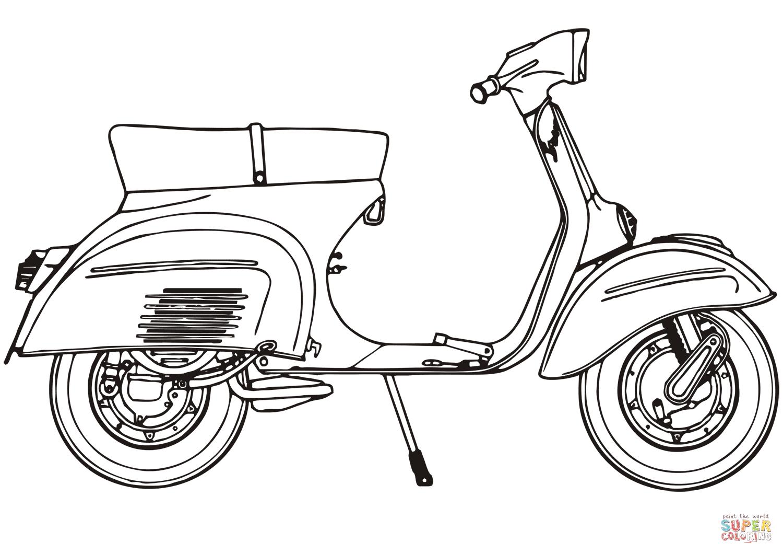 Motor Scooter Piaggio Vespa 125 Sprint Coloring Page