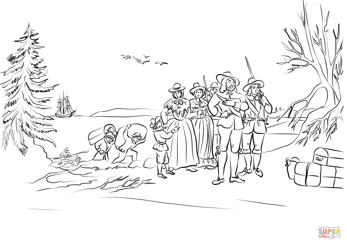 Pilgrims Coming Ashore At Plymouth Massachusetts Coloring