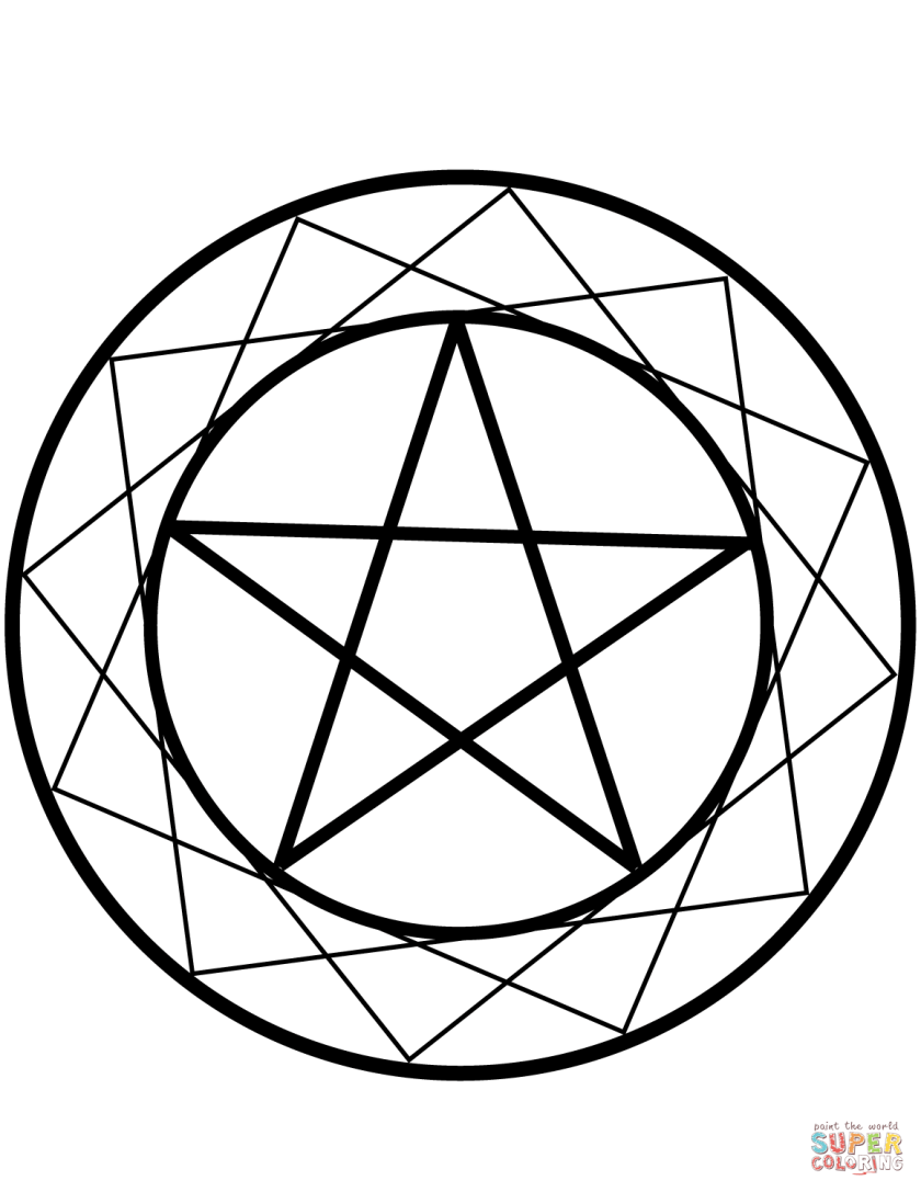 wiccan pentacle coloring page  free printable coloring pages