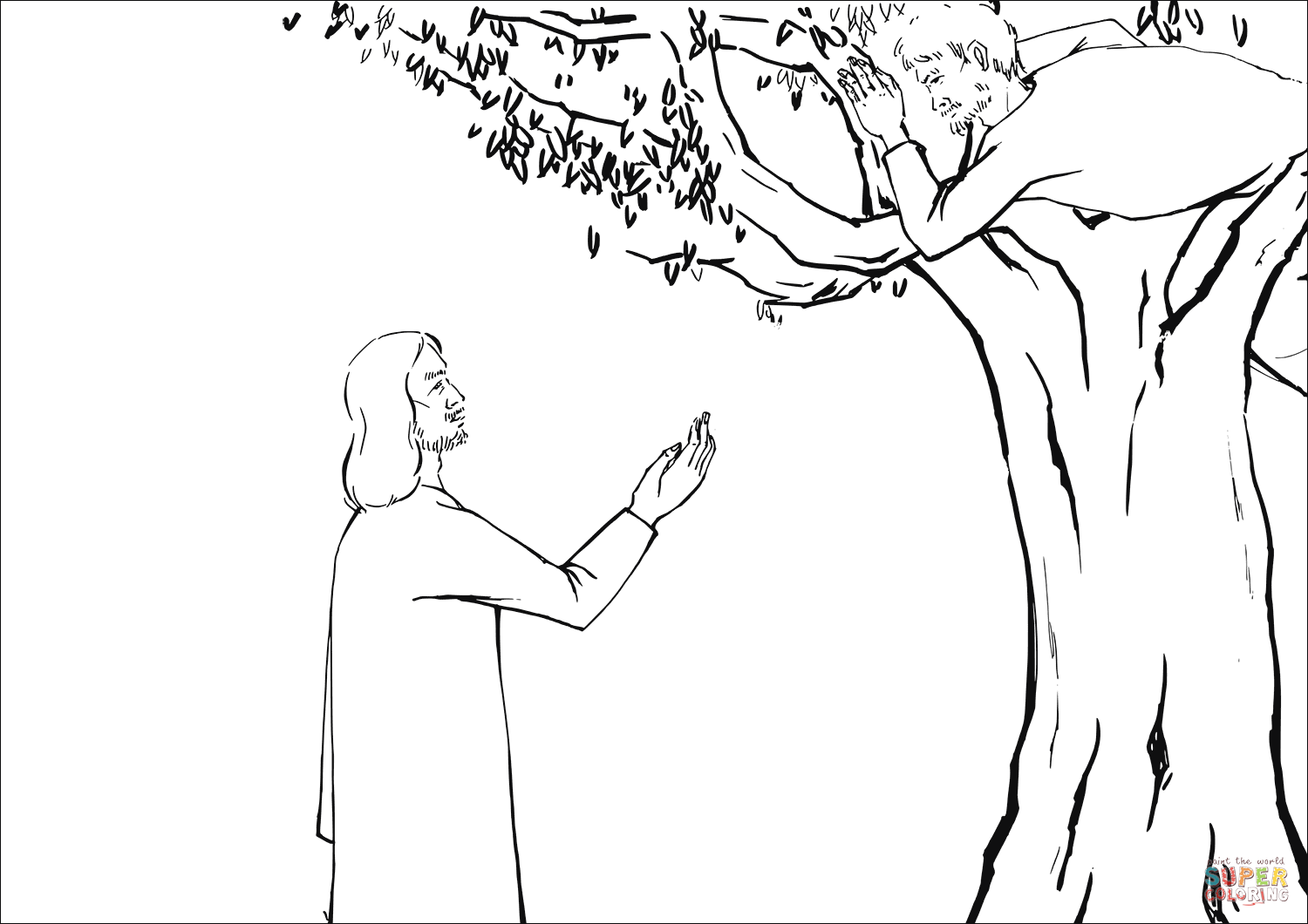 Jesus Asked Zacchaeus To Come Down Coloring Page Free