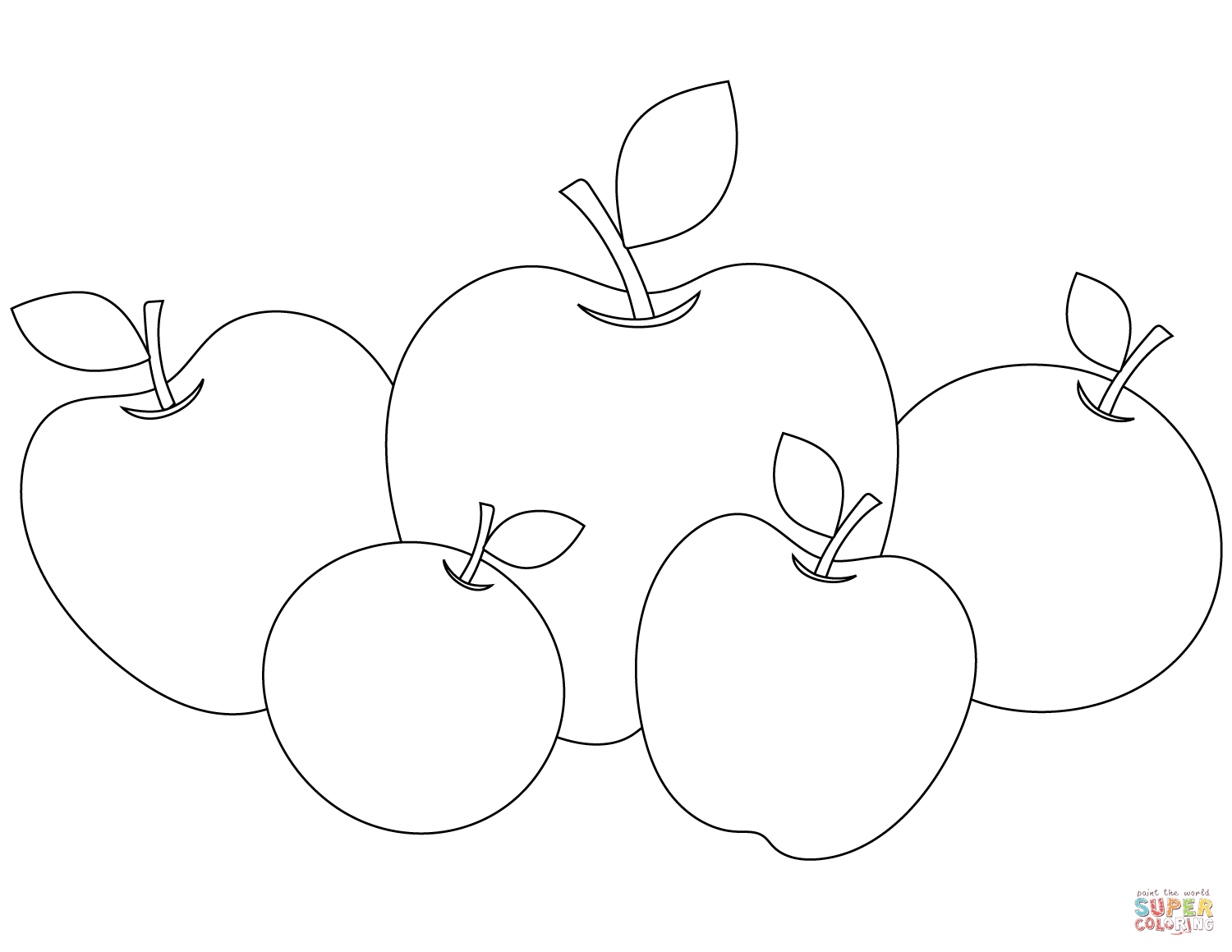 Five Apples Coloring Page