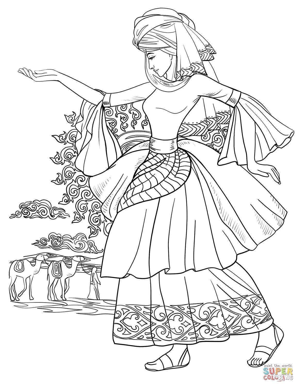 Arab Woman Dancing Coloring Page