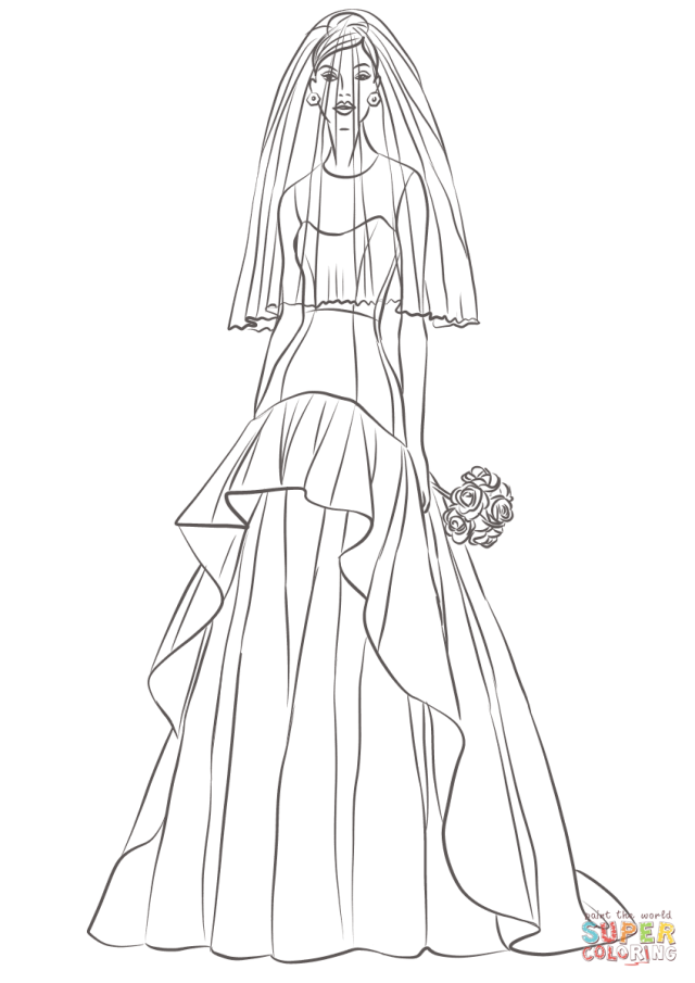 Bride coloring page  Free Printable Coloring Pages