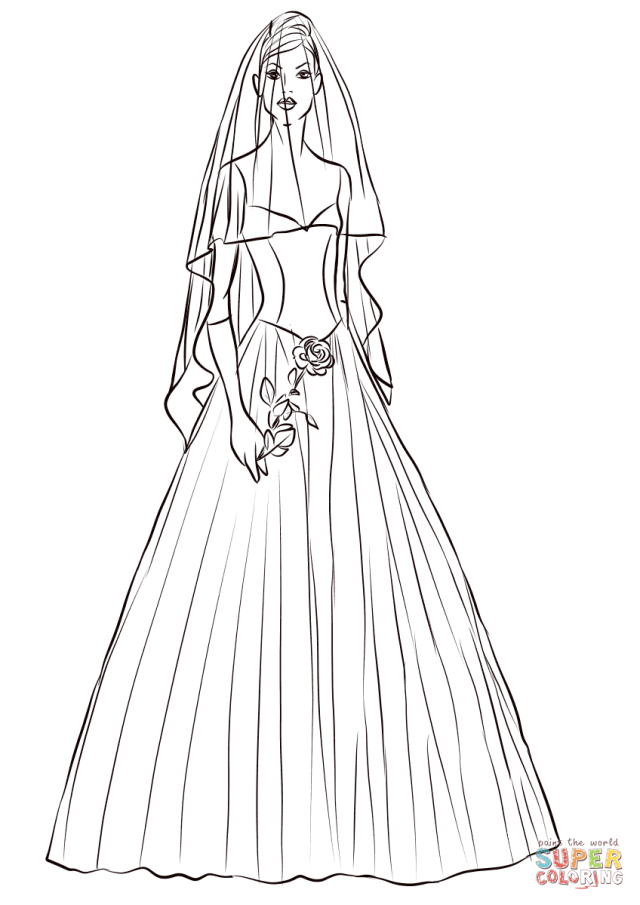 Bride with Rose coloring page  Free Printable Coloring Pages