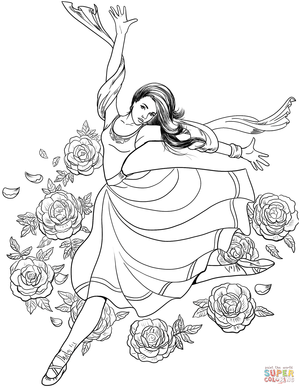 Gymnast Woman Dancing Coloring Page