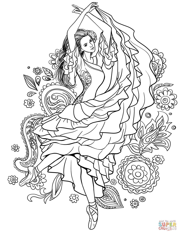 Gypsy Woman Dancing Carmen Coloring Page
