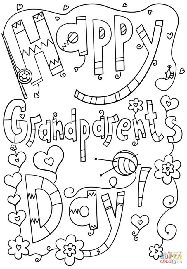 Happy Grandparents Day Doodle coloring page  Free Printable