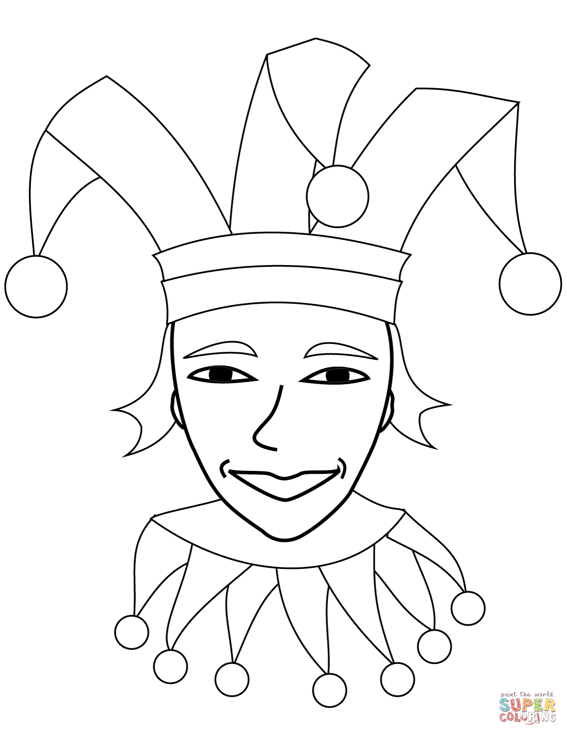 Jester Face Coloring Page