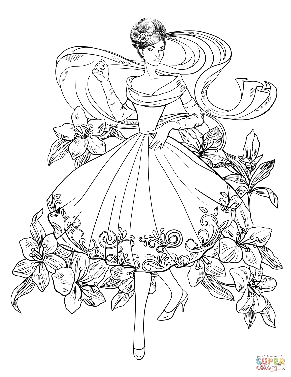 Lady From 60 S Coloring Page