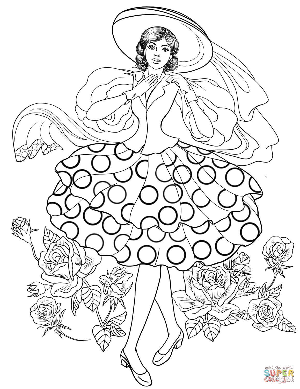 Lady From Stylish 50 S Coloring Page