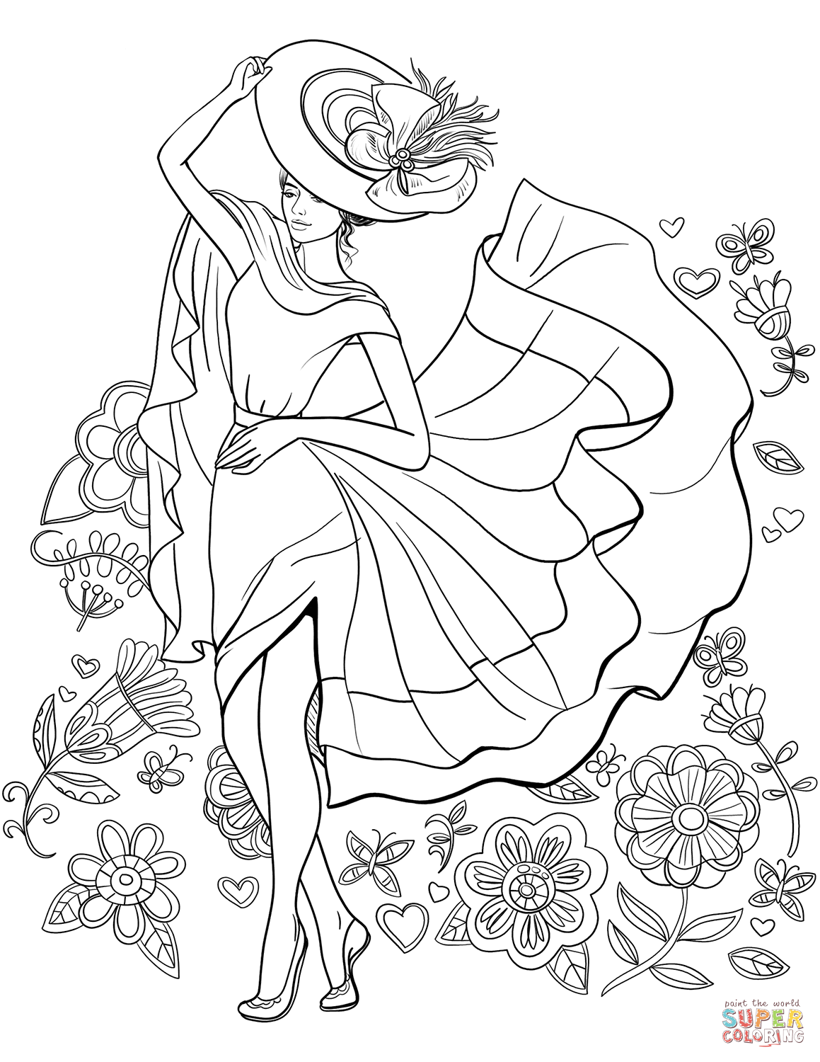 Lady Pin Up Coloring Page Free Printable Coloring Pages