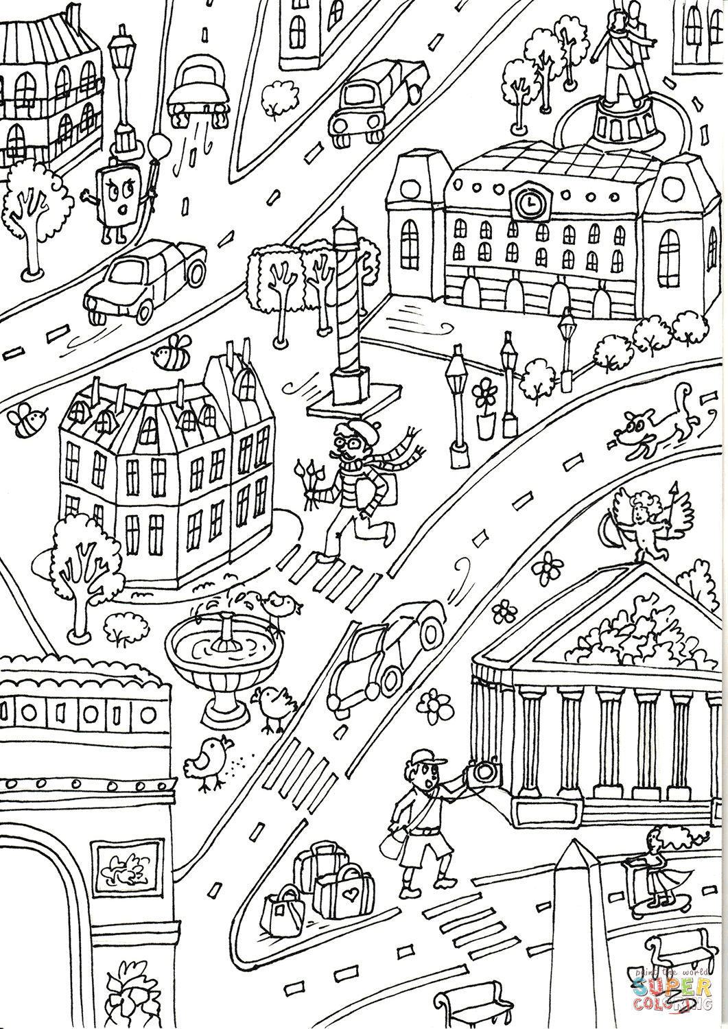 The Arc De Triomphe And Madeleine Church Coloring Page