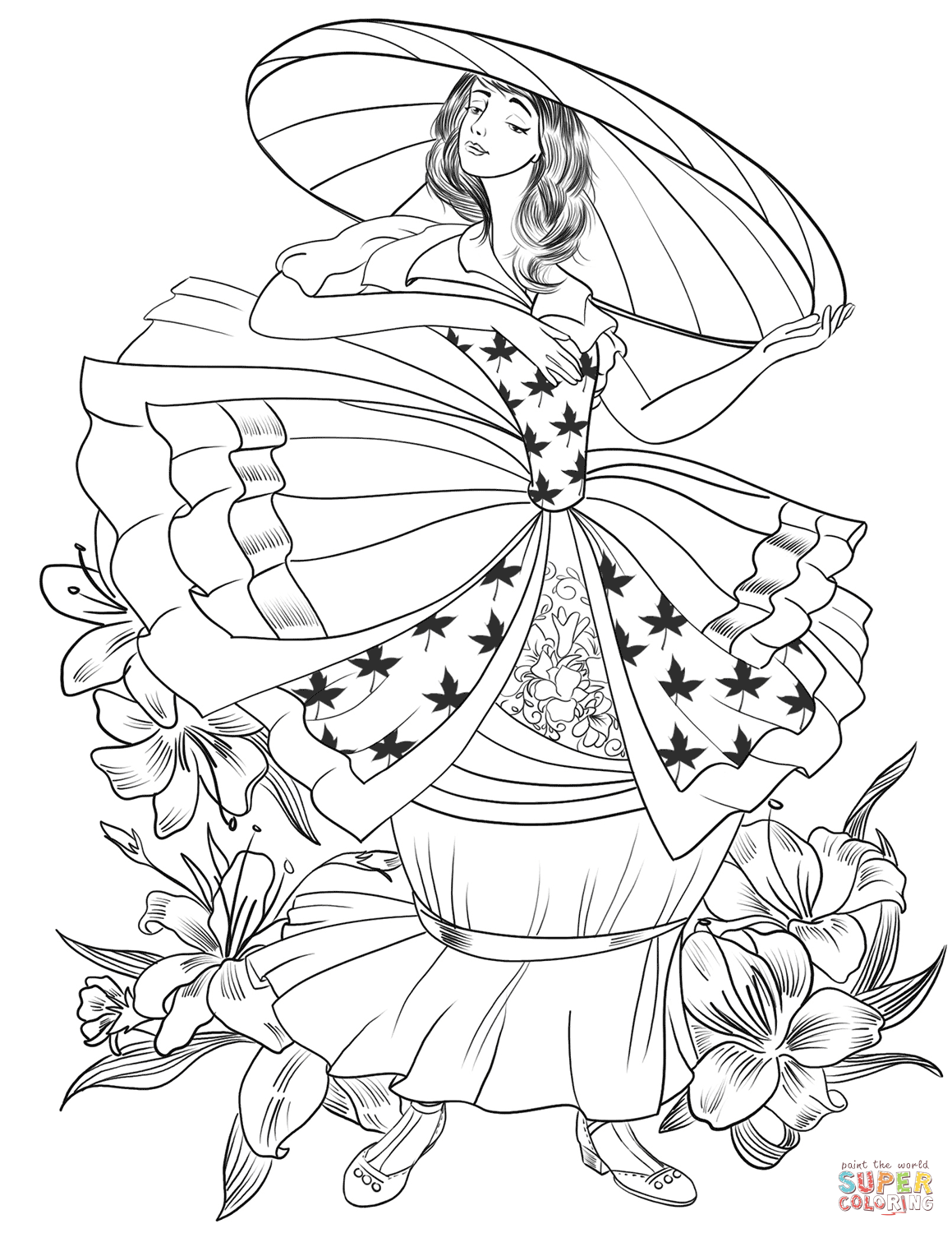 Victorian Lady In The Big Hat Coloring Page
