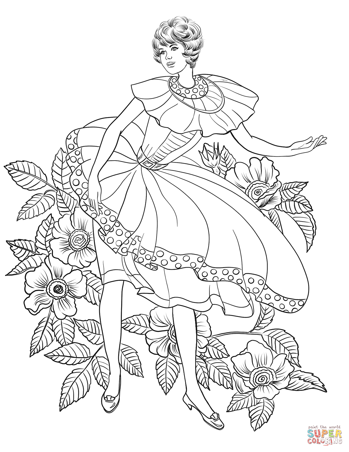 Woman In 50 S Coloring Page