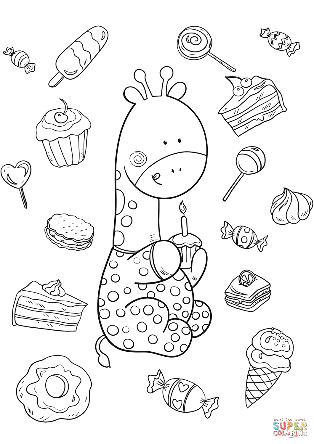 Baby Giraffe Is One Year Old Coloring Page