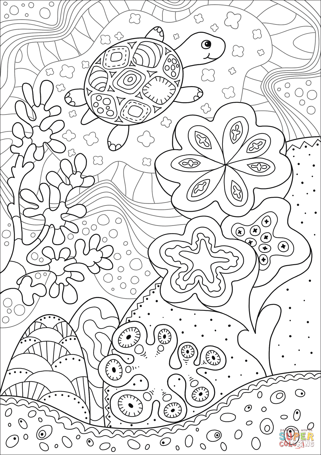 Cute Sea Turtle In Coral Reef Coloring Page