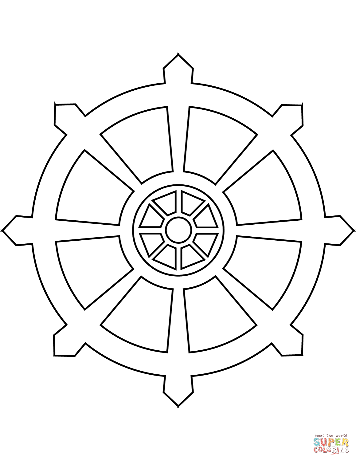 Dharma Wheel Coloring Page