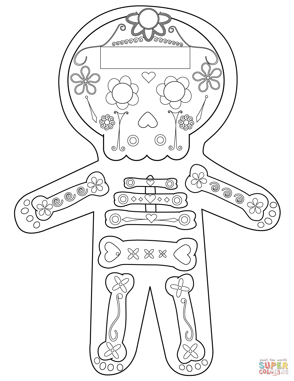 Dia De Los Muertos Skeleton Coloring Page