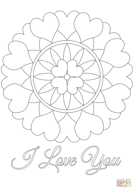 I love you mandala coloring page free printable coloring, love you coloring pages