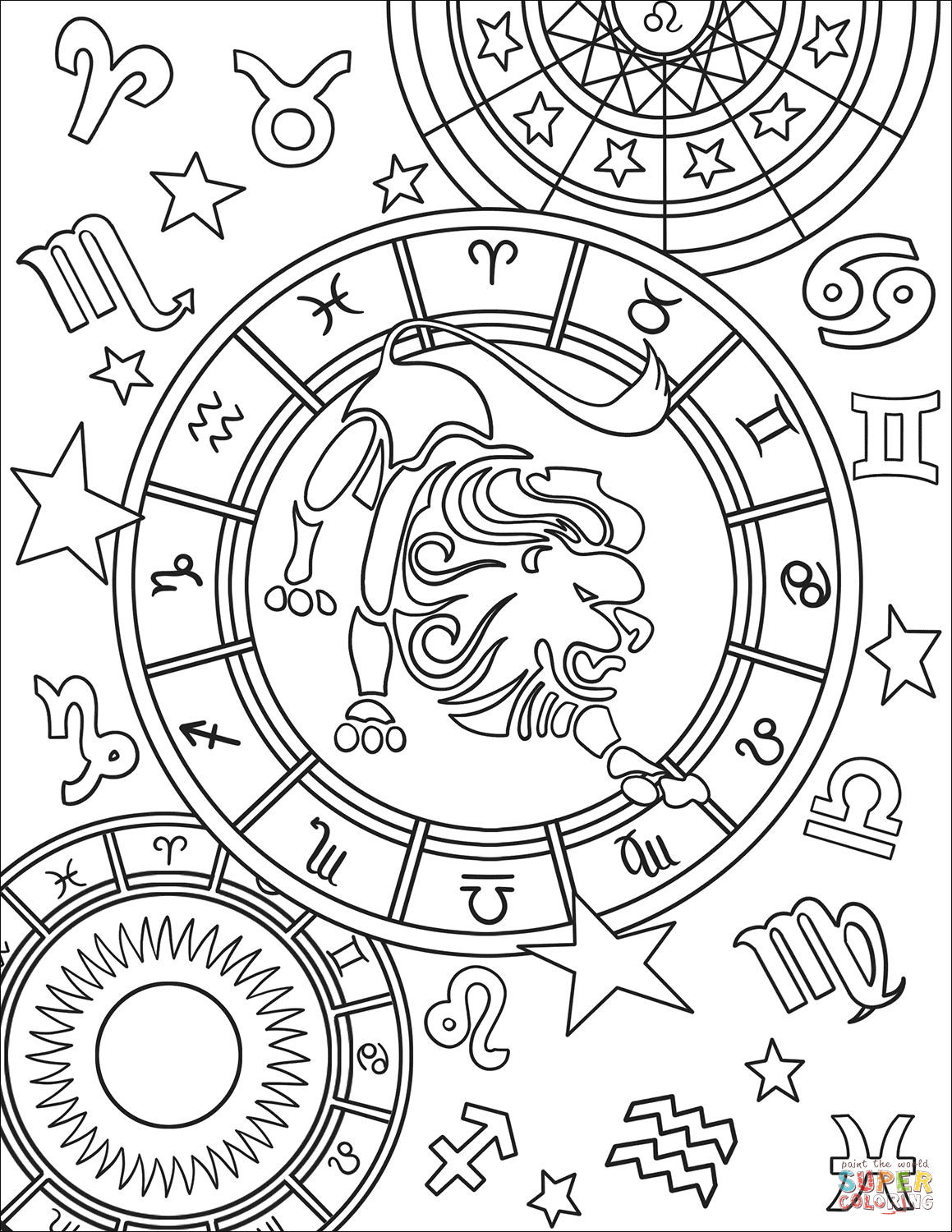 Leo Zodiac Sign Coloring Page Free Printable Coloring Pages