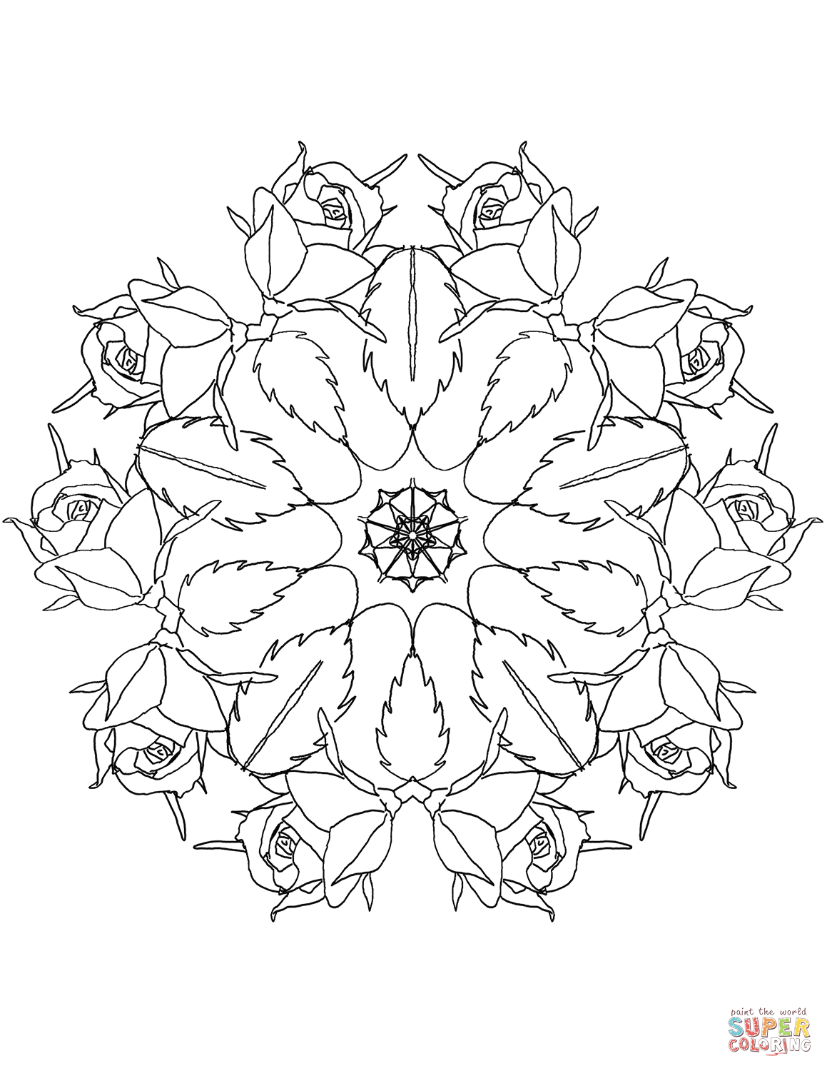 Mandala With Roses Coloring Page