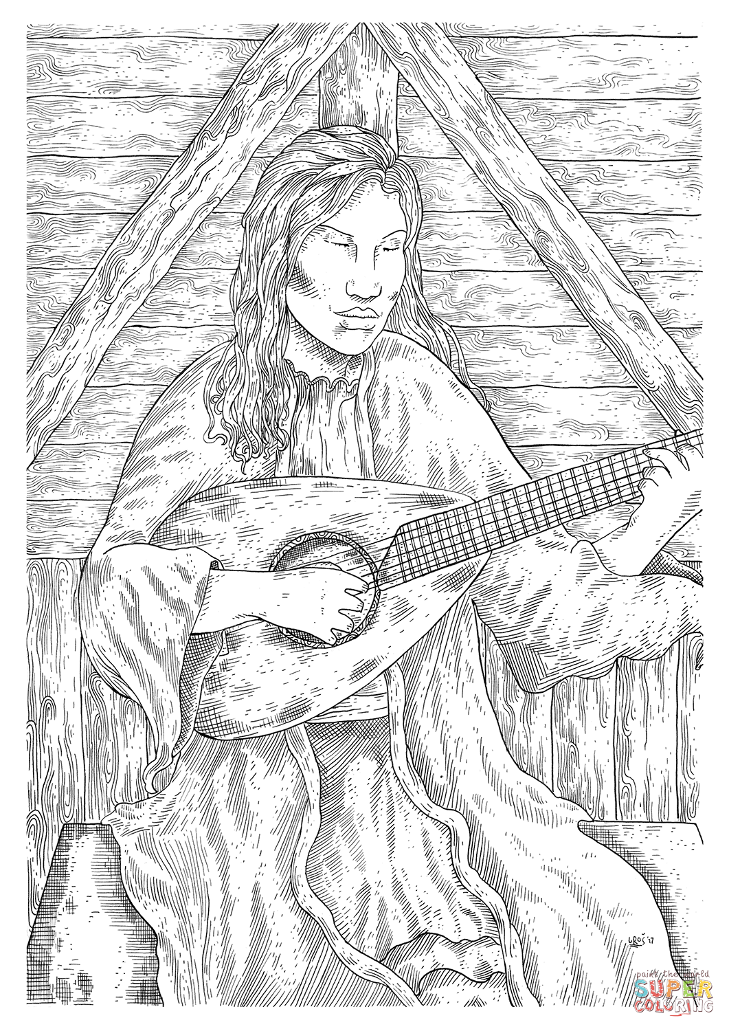 Me Val Peasant Woman Playing Guitar Coloring Page