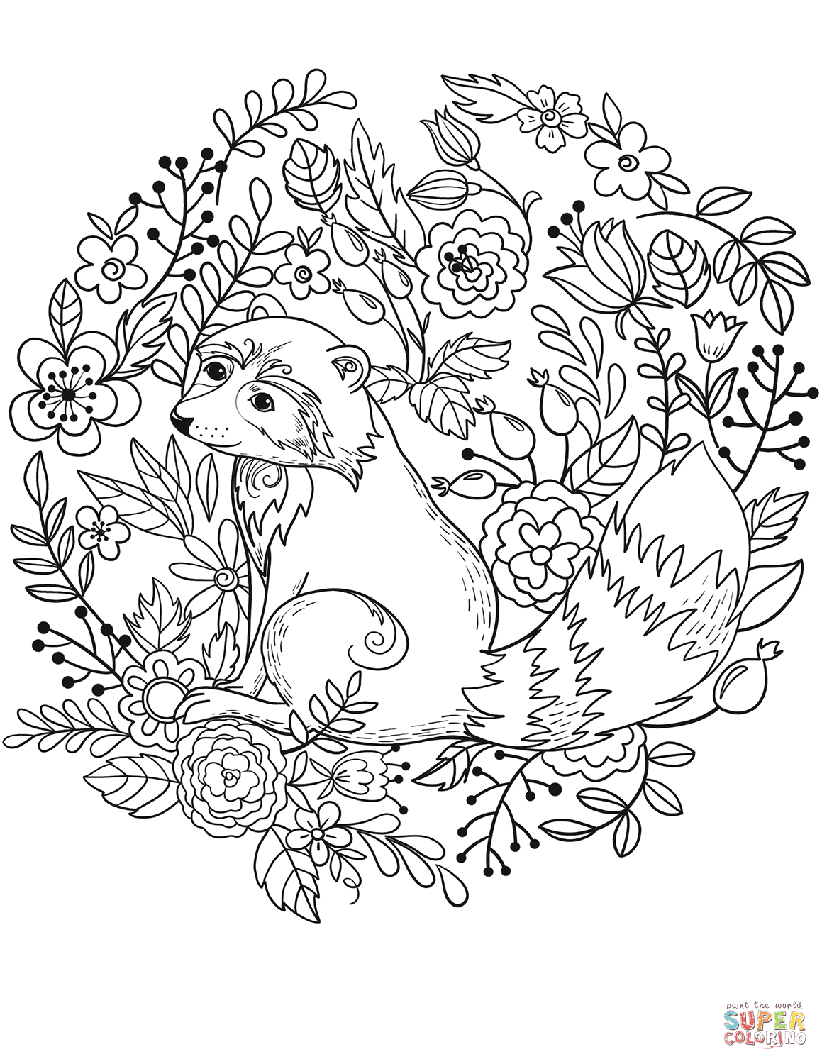 Raccoon Winter Pages Coloring Pages