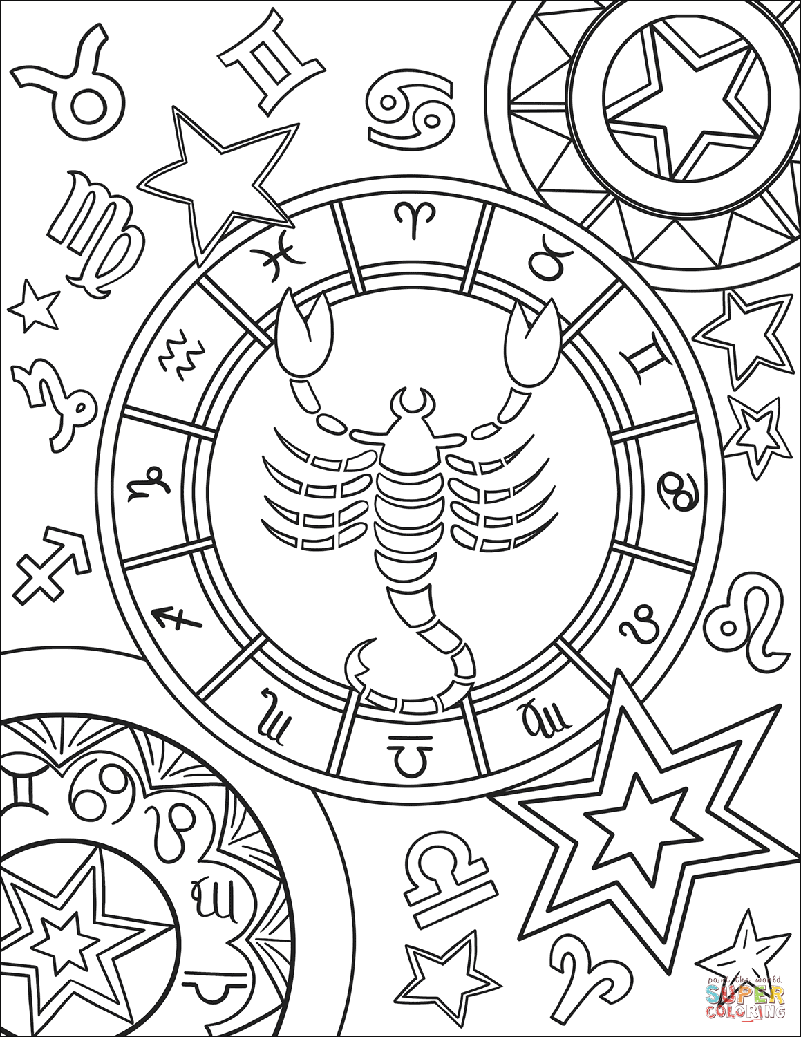 Scorpius Zodiac Sign Coloring Page Free Printable Coloring Pages