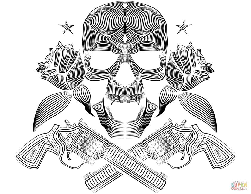 skull roses and guns coloring page  free printable