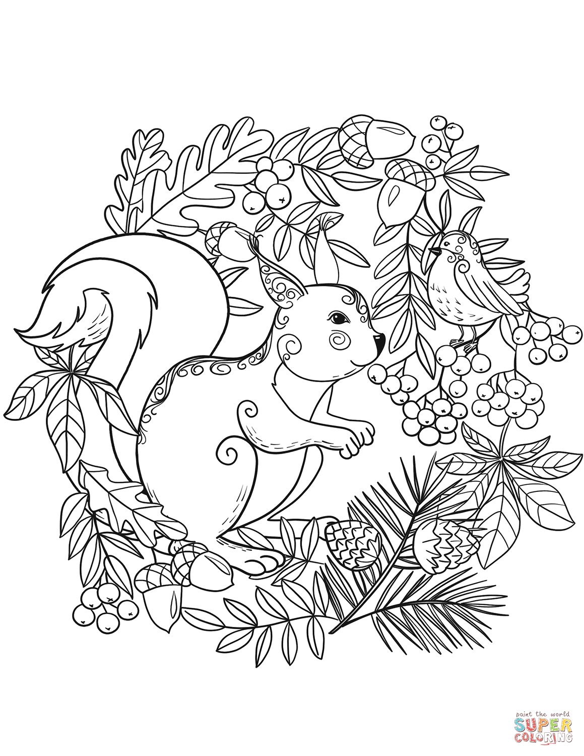 Squirrel And A Bird Coloring Page