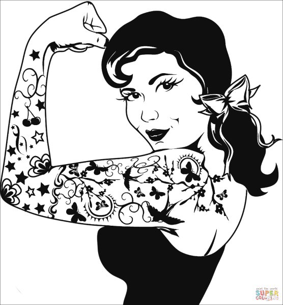 We Can Do It Girl Tattoo coloring page   Free Printable Coloring Pages Click the We Can Do It Girl Tattoo coloring pages to view printable version  or color it online  compatible with iPad and Android tablets