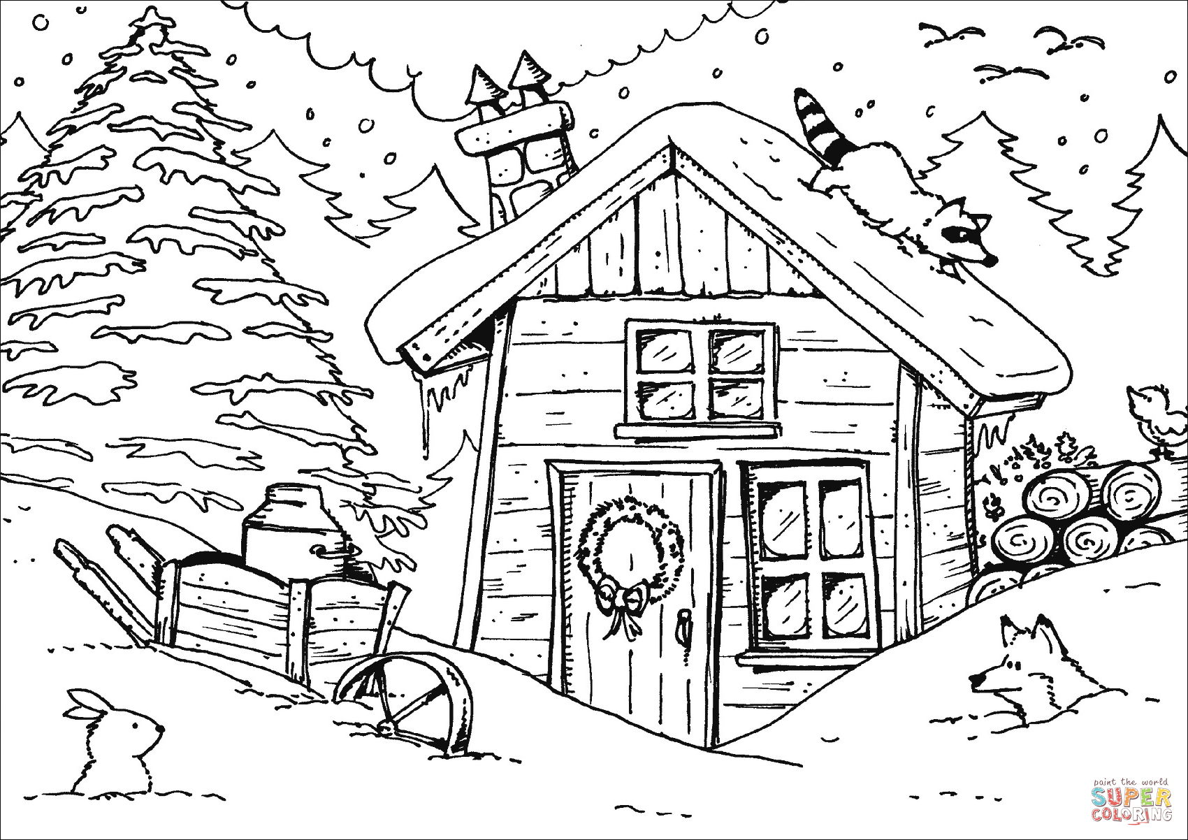 Winter Hut Coloring Page