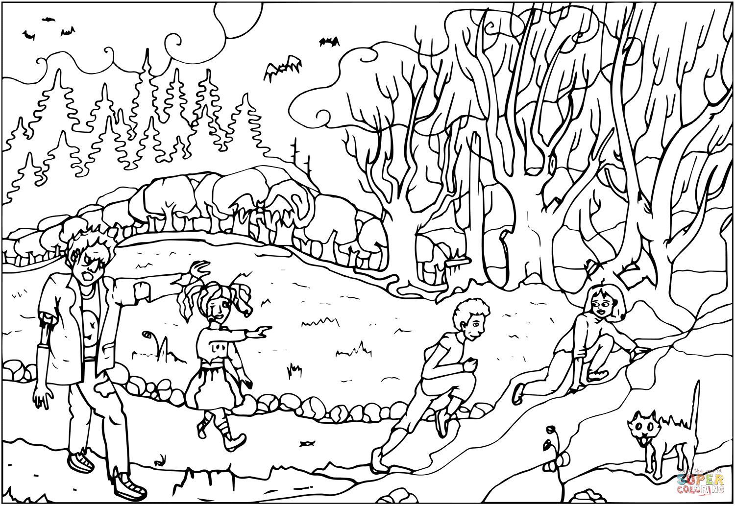 Zombies On Halloween Night Coloring Page