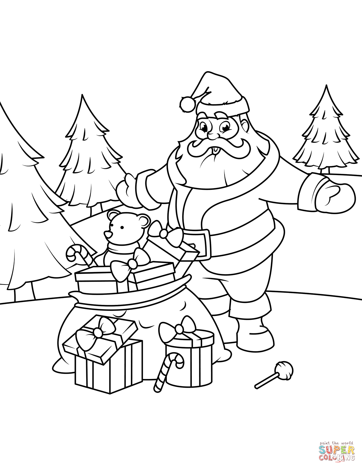 Santa Claus With Ts Coloring Page