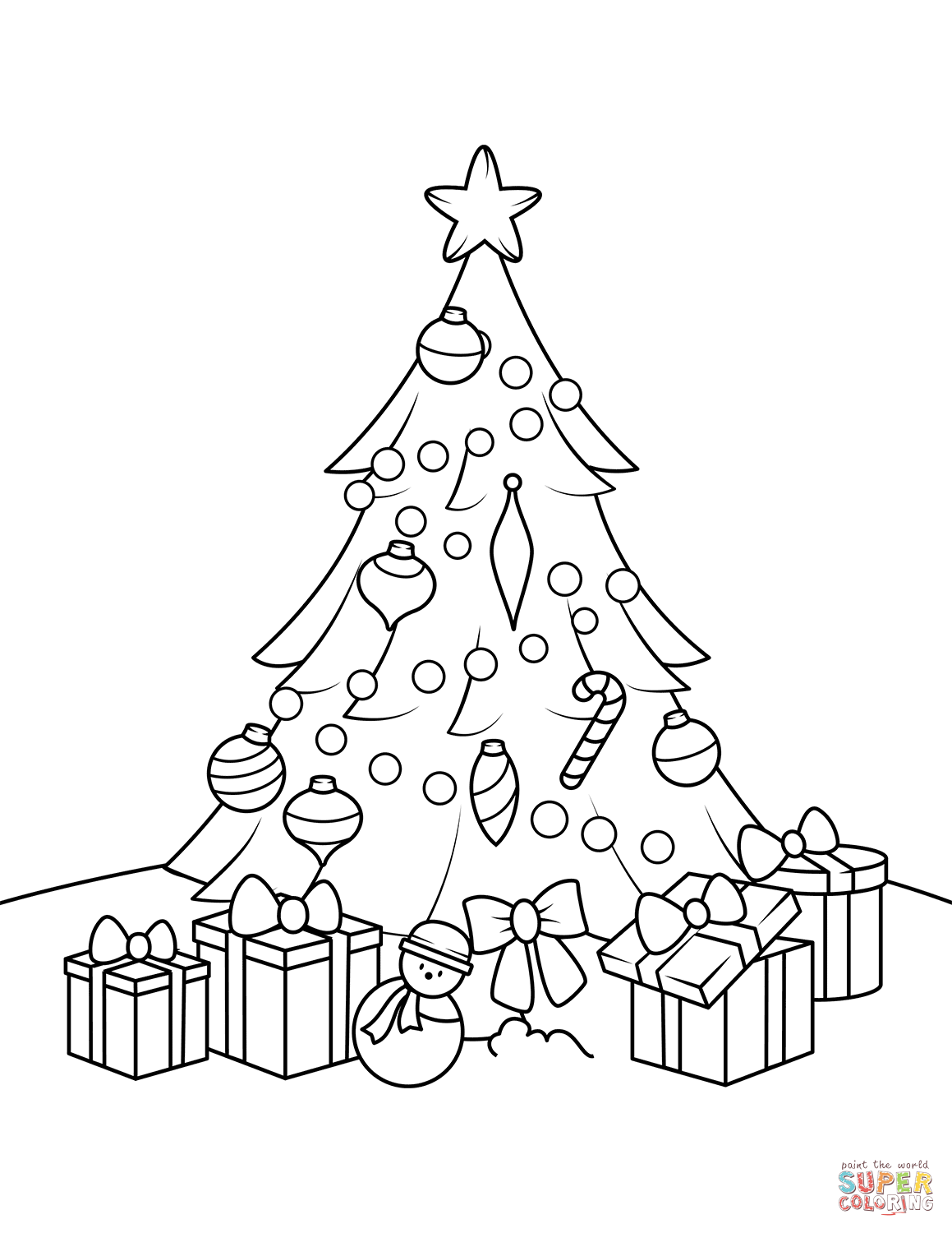 Christmas Tree With Presents Coloring Page