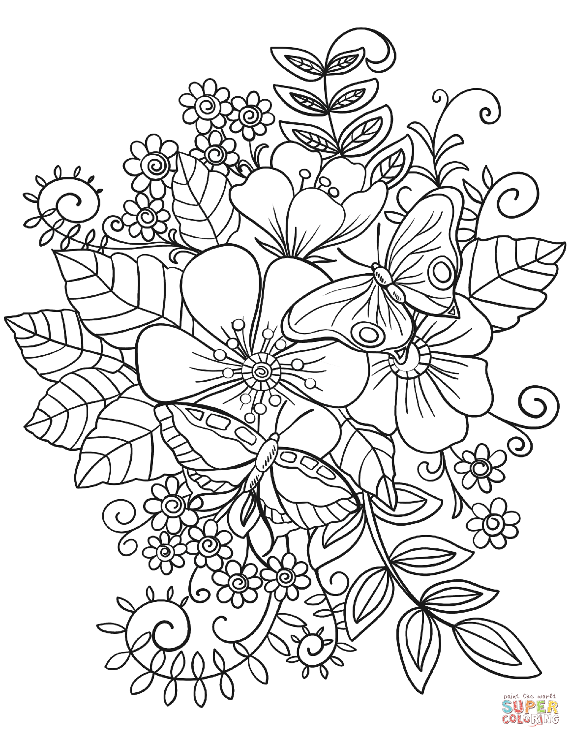 Butterflies On Flowers Coloring Page