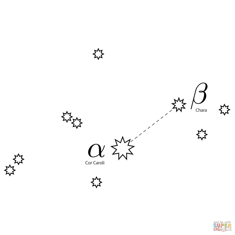 Canes Venatici Constellation Coloring Page