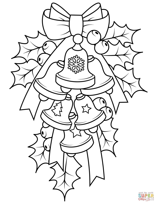 Dibujo De Sinos Y Acebo De Navidad Para Colorear