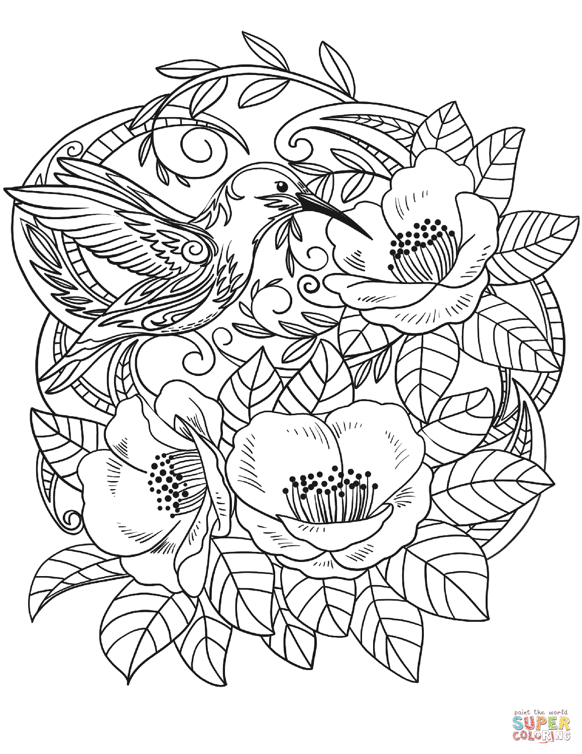 Hummingbird In Flowers Coloring Page