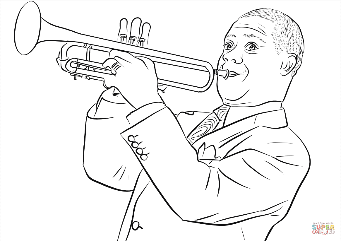 Louis Armstrong Coloring Page Coloring Pages