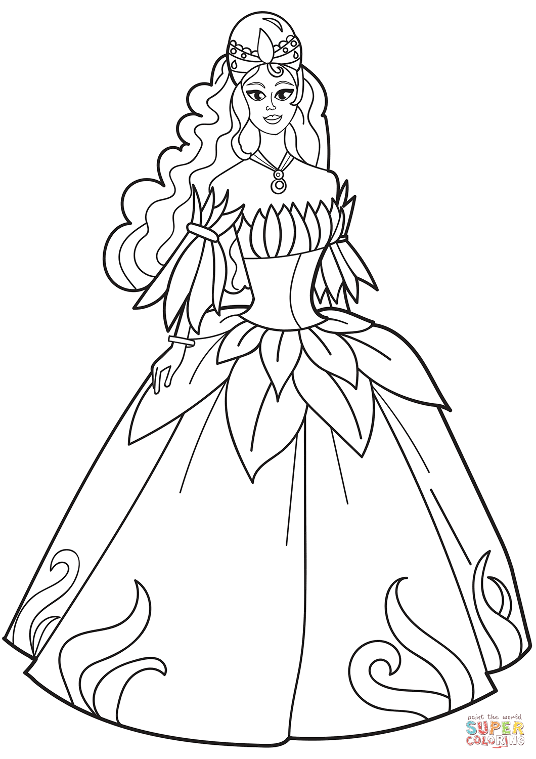 Princess In Flower Dress Coloring Page