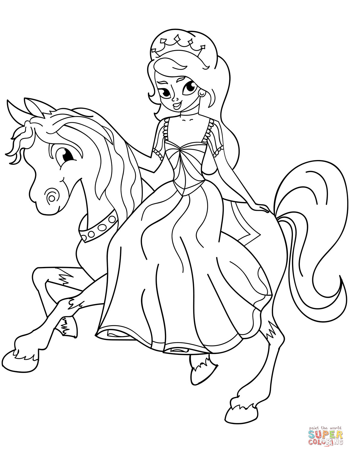 Princess Riding Horse Coloring Page