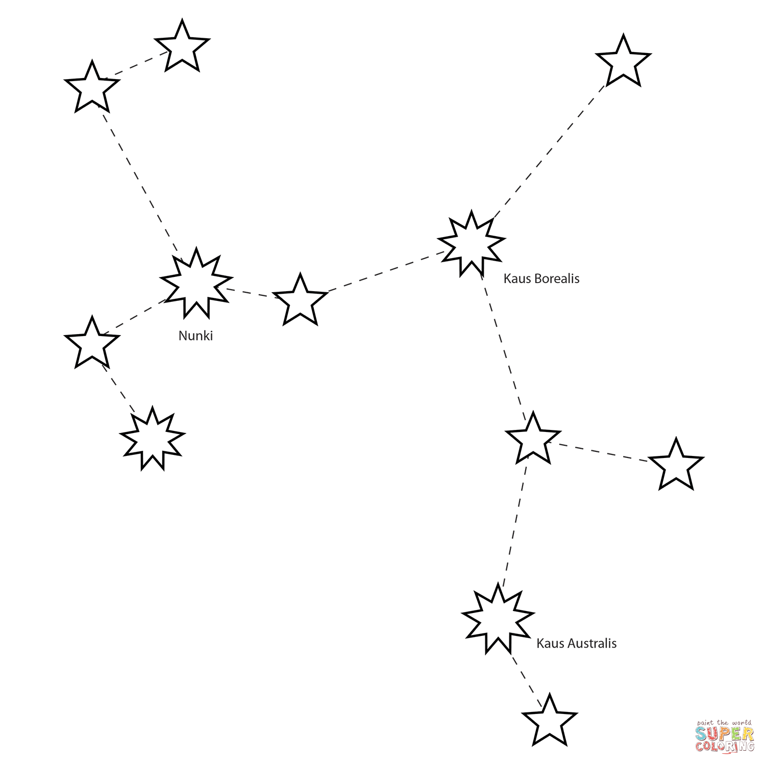 Sagittarius Constellation Coloring Page