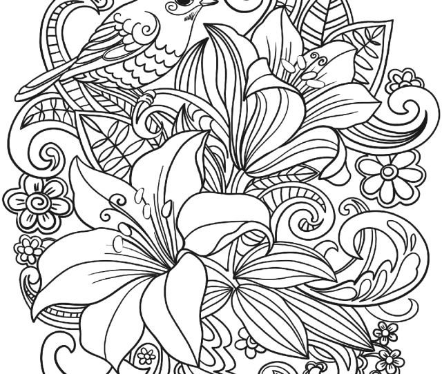 Skylark And Flowers Coloring Page Free Printable Coloring Pages
