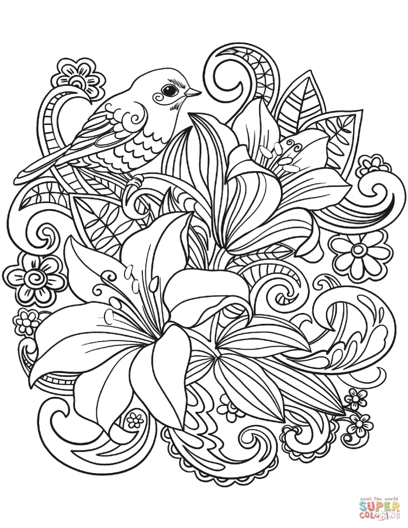 skylark and flowers coloring page | free printable coloring