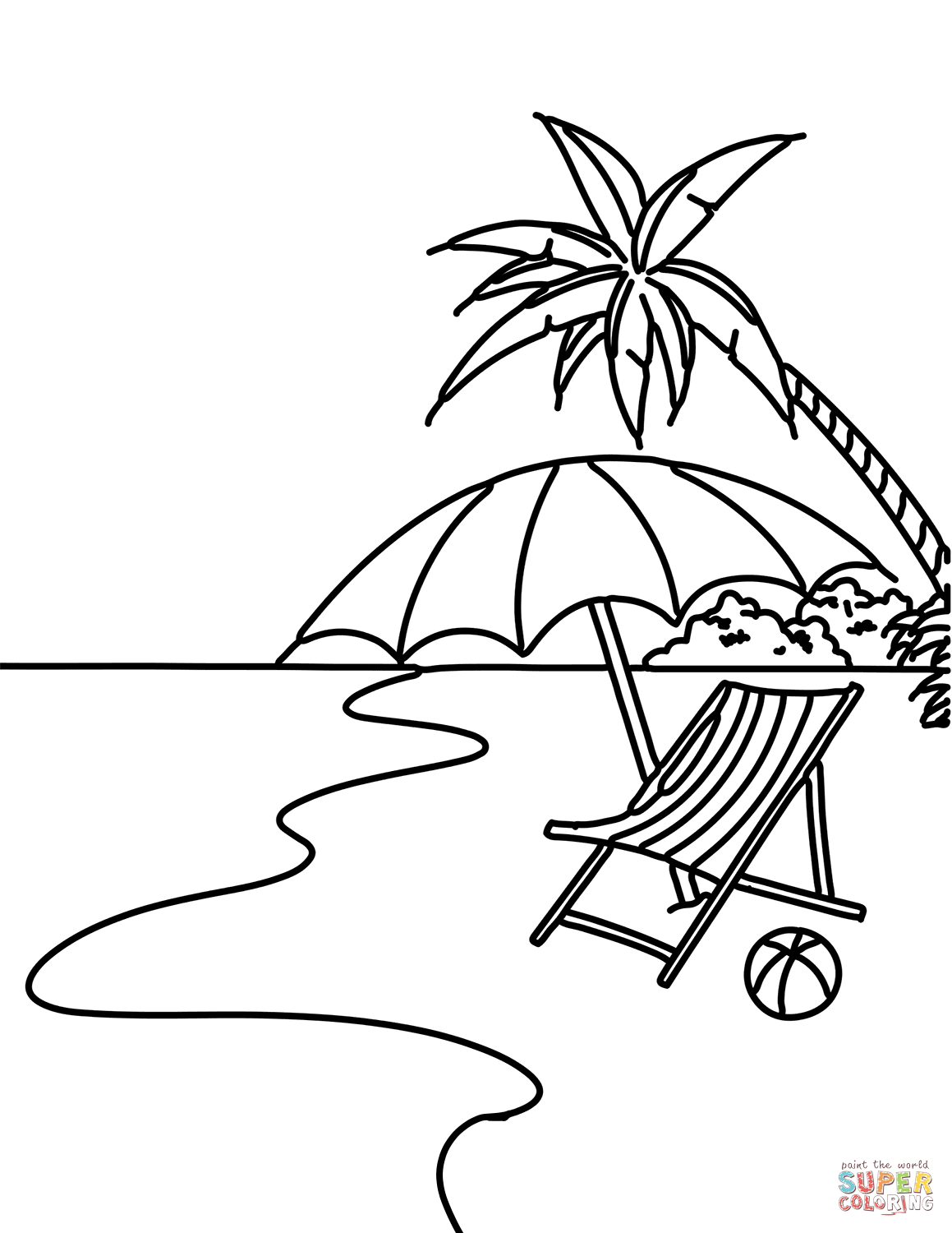 Summer Beach Scene Coloring Page